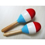 "Wooden Maraca 7.5"" 木製三色沙鎚(紅白藍)"